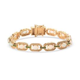Ethiopian Welo Opal Enamelled Bracelet (Size 7) in 14K Gold Overlay Sterling Silver 3.75 Ct, Silver