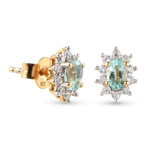 Colombian Emerald and Natural Cambodian Zircon Earrings (with Push Back) in 14K Gold Overlay Sterling Silver