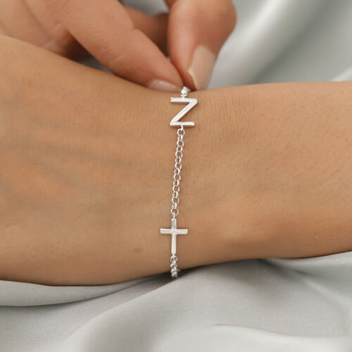 Personalise Single Alphabet + Cross, Name Bracelet in Silver, Size - 7.5 Inch