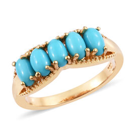 1 Carat Sleeping Beauty Turquoise 5 Stone Ring in Gold Plated Sterling Silver
