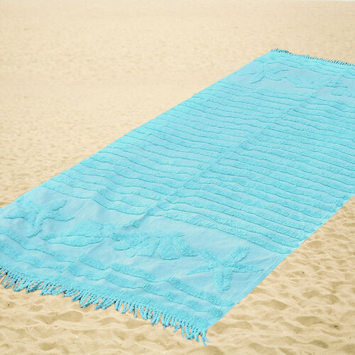 100% Cotton Tufted Shells Turquoise Outdoor Rug with Fringes on Both Ends (Size 175x80 Cm)
