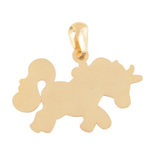 9K Yellow Gold Enamelled Unicorn Pendant