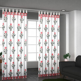 Set of 2 - Floral Printed Cotton Curtain with Tie Back Loops (Size 110x245cm) - White, Pink & Green