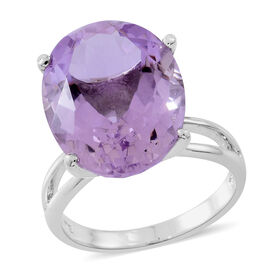 Limited Edition- Rose De France Amethyst (Ovl) Ring in Rhodium Plated Sterling Silver 16.000 Ct. Silver wt 5.45 Gms.