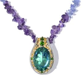 Peacock Quartz (Ovl), Russian Diopside and Multi Gemstone Necklace (Size 18) in Platinum and Yellow Gold Overlay Sterling Silver 109.000 Ct. Silver wt 5.77 Gms.