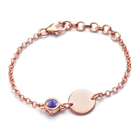Tanzanite Bracelet (Size 5 with 1 inch Extender) in Rose Gold Overlay Sterling Silver 0.44 Ct.