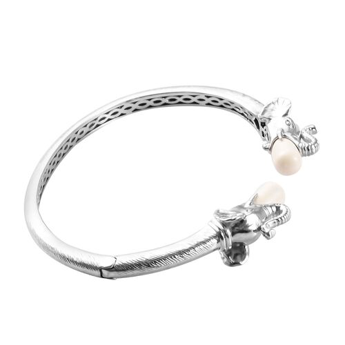 J Francis - Crystal from Swarovski Ivory Pearl Crystal Elephant Head Open Cuff Bangle (Size 7.5) in Silver Tone