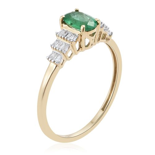 9K Yellow Gold AAA Kagem Zambian Emerald (Ovl), Diamond Ring 1.000 Ct.