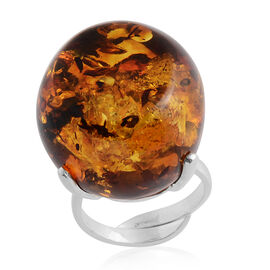 Baltic Amber Adjustable Ring in Sterling Silver