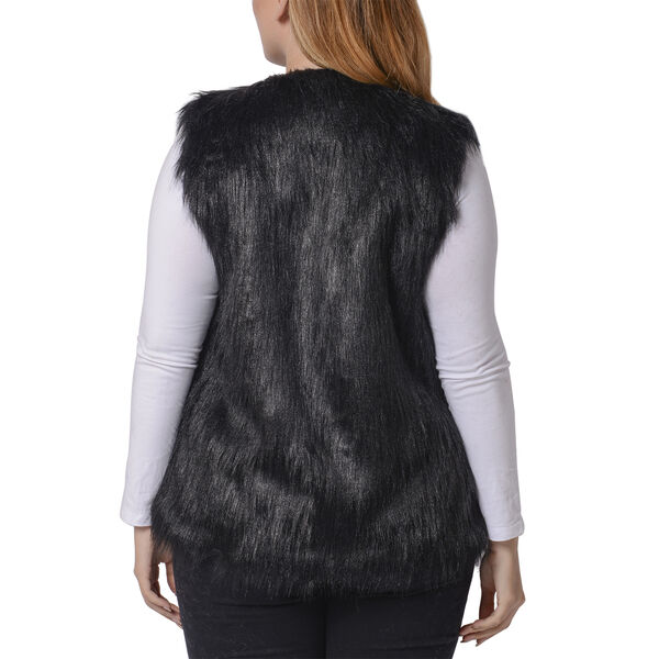 Black Colour Faux Fur Gilet (One Size Fits all; 50x70 Cm)