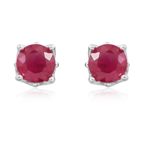 African Ruby (Rnd) Stud Earrings in Rhodium Plated Sterling Silver 2.500 Ct.