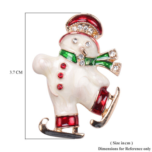 Multi Colour Austrian Crystal Enamelled Christmas Theme Brooch