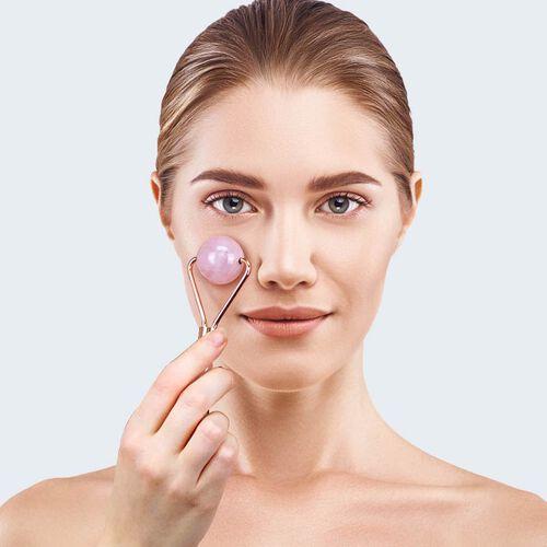 Rose Quartz Face Sphere Roller in Gold Tone