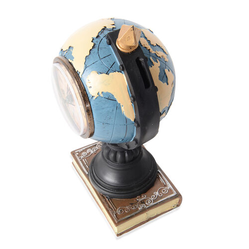 Home Decor - Blue, Black and Yellow Colour Globe with Clock Face (Size 24x11 Cm)