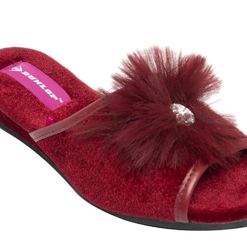 Dunlop Marilyn Boa Wedge Slipper Mules in Burgundy Colour