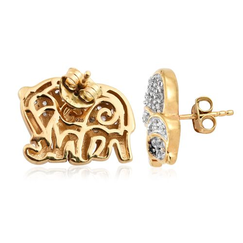 1 Carat Natural Cambodian Zircon and Black Spinel Elephant Stud Earrings in Gold Plated Silver 5.87 Gms