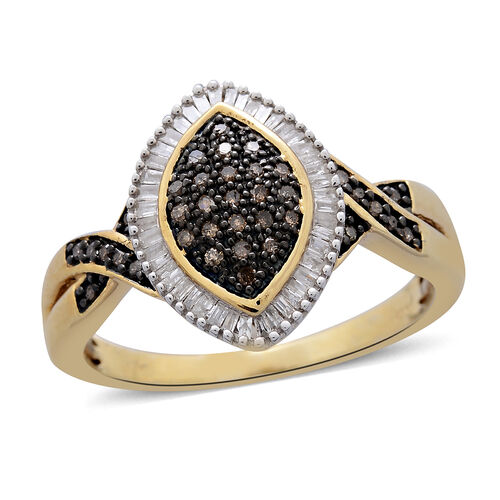 Natural Champagne Diamond (Rnd), White Diamond Ring in Black Rhodium and 14K Gold Overlay Sterling S
