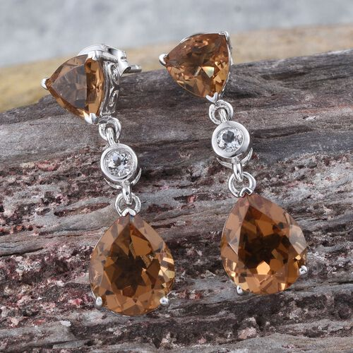Alexite (Pear), White Topaz Earrings (with Push Back) in Platinum Overlay Sterling Silver 8.750 Ct.