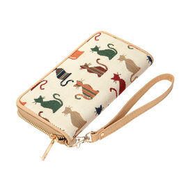 SIGNARE - Tapestry Collection - Cheeky Cat Long Zip RFID Blocker Wallet With Wrist Strap ( 11 x 8 x 4 Cms )