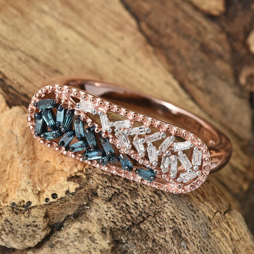 Blue and White Diamond (Bgt) Ring in Rose Gold and Platinum Overlay with Blue Plating Sterling Silver 0.200  Ct.