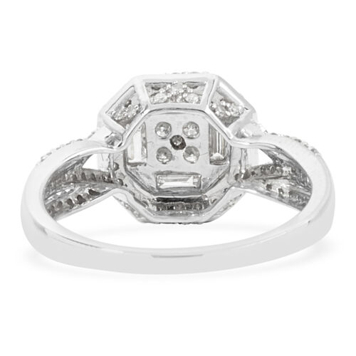 New York Close Out Deal- 14K White Gold Diamond (Bgt and Rnd) (I1-I2/G-H) Ring 0.750 Ct.