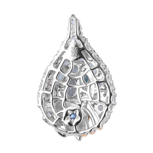 GP Swiss Blue Topaz and Blue Sapphire Cluster Pendant in Platinum and Yellow Gold Overlay Sterling Silver 3.92 Ct.