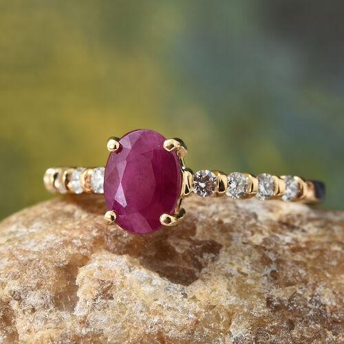 ILIANA 18K Yellow Gold AAA Burmese Ruby (Ovl) Diamond Ring 1.750 Ct.