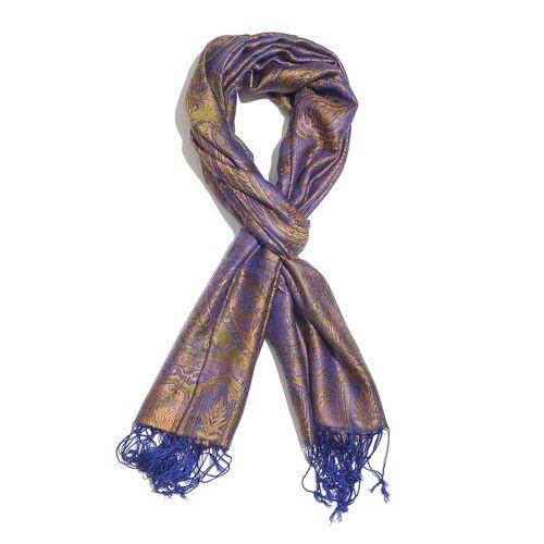 SILK MARK - 100% Superfine Silk Purple and Multi Colour Paisley and Floral Pattern Jacquard Jamawar