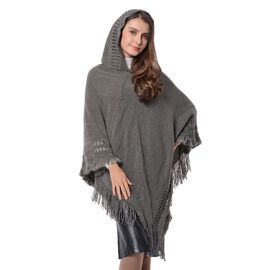 Strip and Rhombus Pattern Hoody Poncho with Tassels (Free Size) Grey Colour