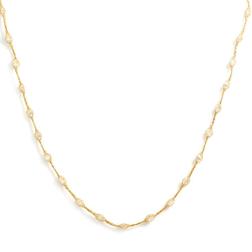 Italian Made Cubic Zirconia Station Necklace in 9K Gold 18 Inch