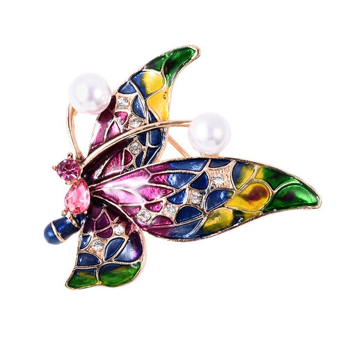 Simulated Pink Sapphire, Simulated Pearl, Fuchsia and White Austrian Crystal Butterfly Brooch in Gol