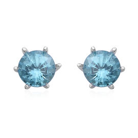 Blue Zircon Solitaire Stud Earrings with Push Back in Rhodium Plated Sterling Silver