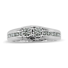New York Close Out Deal- 9K White Gold Diamond (Rnd) (I2/G-H) Ring 0.500 Ct.