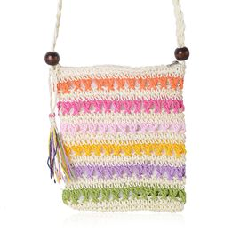 Pink, Orange, Off White and Multi Colour Woven Pattern Crossbody Bag (Size 23x19 Cm)