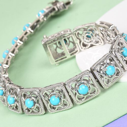 AA Arizona Sleeping Beauty Turquoise Bracelet (Size 7.5) in Platinum Overlay Sterling Silver 4.50 Ct, Silver wt 20.45 Gms