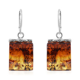 Baltic Amber Lever Back Earrings in Sterling Silver, Silver wt 5.10 Gms