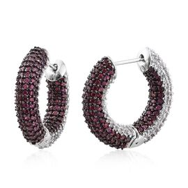 Designer Inspired - Reversible Rhodolite Garnet (Rnd), Natural Cambodian Zircon Hoop Earrings in Pla