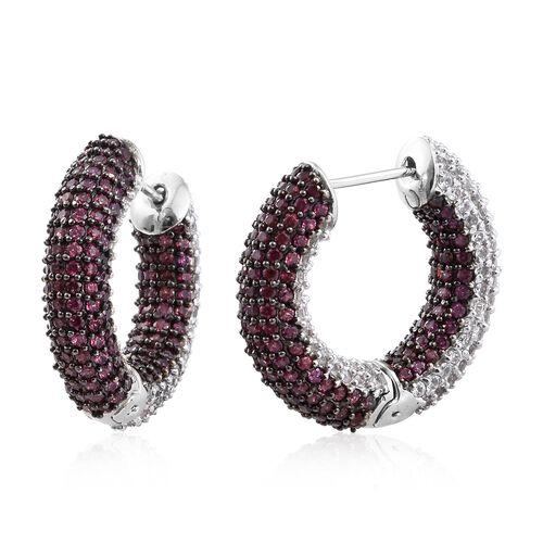 Designer Inspired - Reversible Rhodolite Garnet (Rnd), Natural Cambodian Zircon Hoop Earrings in Pla