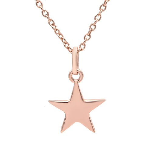 Personalise Engraved Initial Star  Pendant with Chain