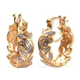 Diamond Hoop Earrings in 14K Gold Plated Sterling Silver 4.41 Grams