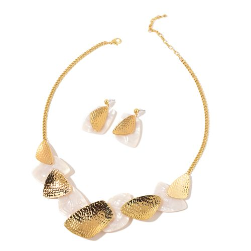 Simulated White Shell Necklace (Size 20) and Earrings in Yellow Gold Tone