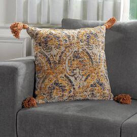 JACQUARD WOVEN Cushion Cover (Size 45X45 Cm) - Mustard
