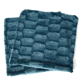 Set of 2 - Blue Colour Faux Fur and Mink Cushion Cover with Zipper (Size 45.72x45.72 Cm)