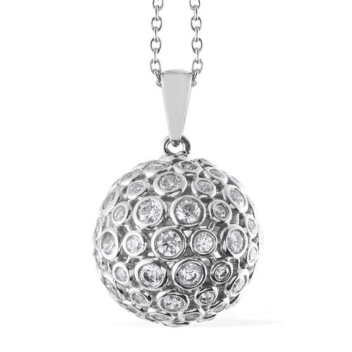 J Francis - Platinum Overlay Sterling Silver (Rnd) PRISM Pendant with Chain Made with SWAROVSKI ZIRC