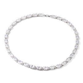 Simulated White Diamond Tennis Necklace in Silver Tone 16 Inch