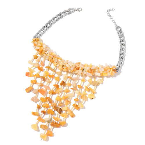 Yellow Aventurine and Simulated Yellow Colour Beads Waterfall Necklace (Size 16) in Silver Tone 590.000 Ct.