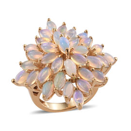 Ethiopian Welo Opal (Mrq) Sunburst Ring in 14K Gold Overlay Sterling Silver 5.350 Ct, Silver wt 9.04