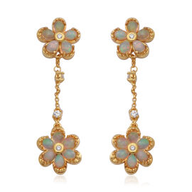 Ethiopian Welo Opal and Natural Cambodian Zircon Floral Dangle Earrings (with Push Back) in Yellow G