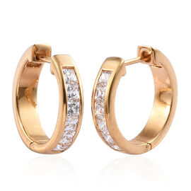 J Francis 14K Gold Overlay Sterling Silver (Sqr) Hoop Earrings (with Clasp) Made with SWAROVSKI ZIRC