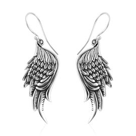 Royal Bali Collection Sterling Silver Wing Design Hook Earrings, Silver wt 6.40 Gms.